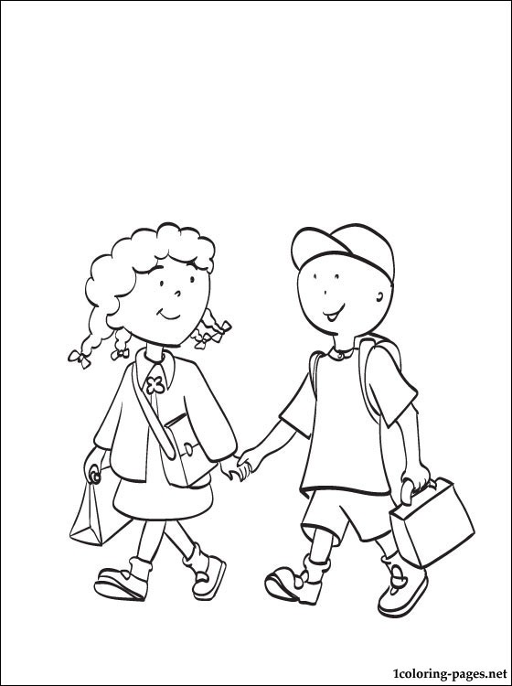Caillou With Clementine Coloring Page Coloring Pages