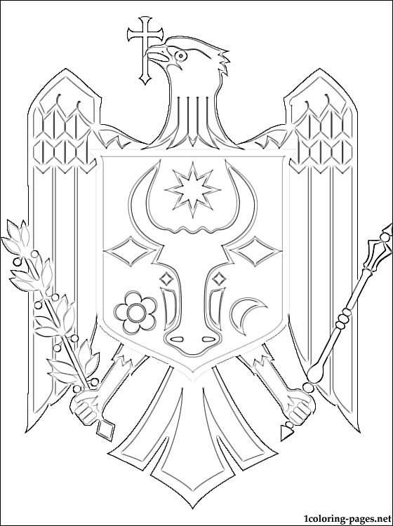 Moldova Coat Of Arms Coloring Page Coloring Pages