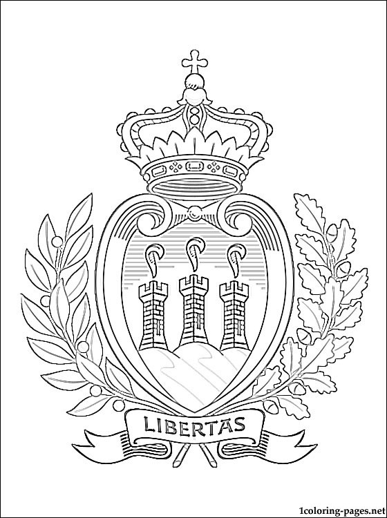 San Marino Coat Of Arms Coloring Page Coloring Pages
