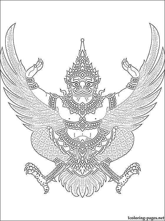 Thailand Coat Of Arms Coloring Page Coloring Pages