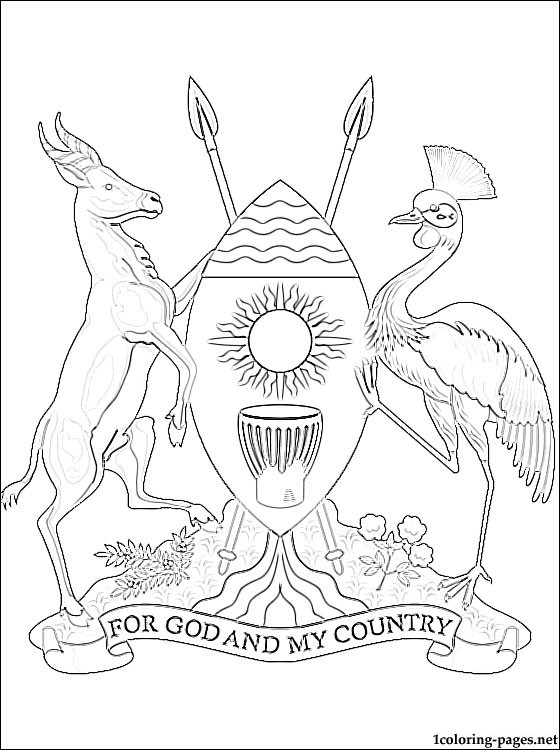 Uganda Coat Of Arms Coloring Page Coloring Pages