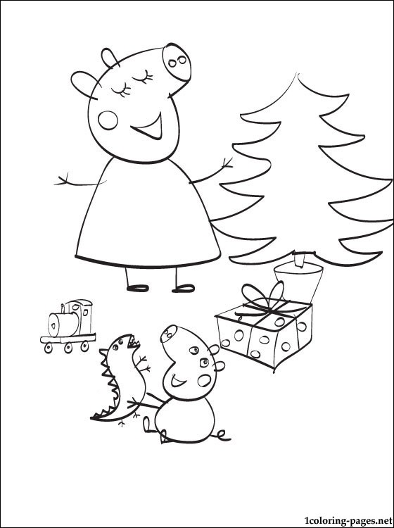 Peppa Pig Christmas Coloring Page Coloring Pages