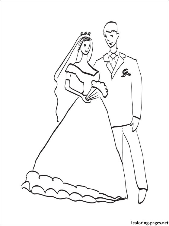 Wedding Couple Coloring Page Coloring Pages