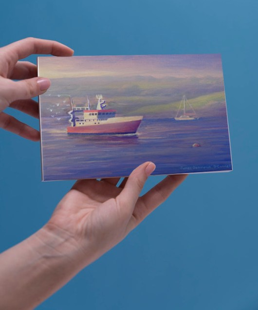 1create - The Red Fishing Boat - Greeting card preview