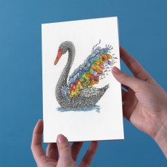 1create - black swan greeting card by SasTi-Line