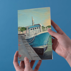 1create - greeting card The Blue Fishing Boat by james donovan o'connell