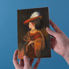 1create - Greeting Card Lady in Red Hat by Patricia Thompson