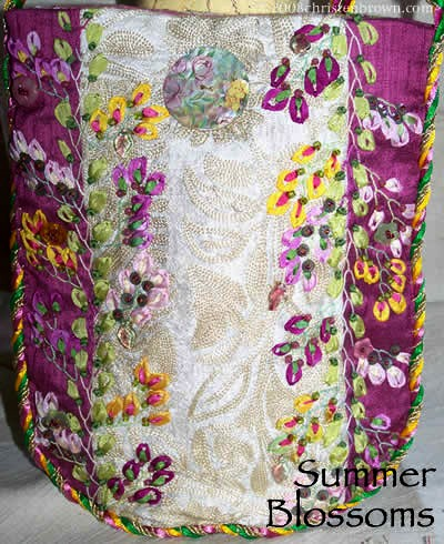 silk fabric with silk ribbon embroidery