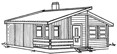одноэтажный дачный дом