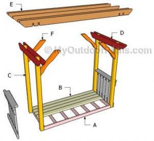 Схема перголы со скамейкой