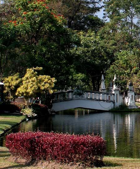 мостик через пруд в саду