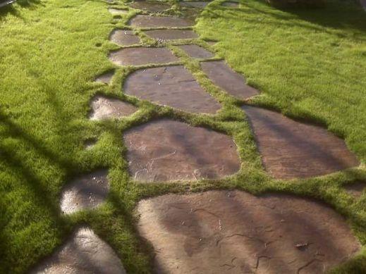 Дорожка из плитняка в пространстве газона