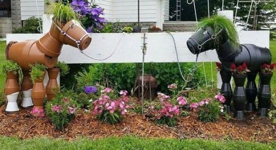 Лошади из горшков для дачи