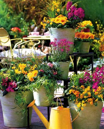 весенние цветы на балконе