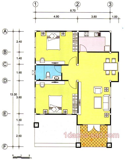 проект одноэтажного 3-комнатного дома
