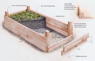 Схема и размеры деревянной грядки