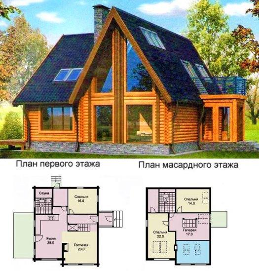 Проект дома Шале с большими окнами