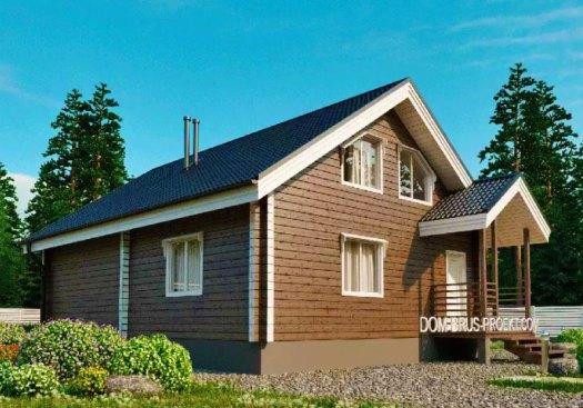Дом из бруса 8 на 10 метров - проект с мансардой