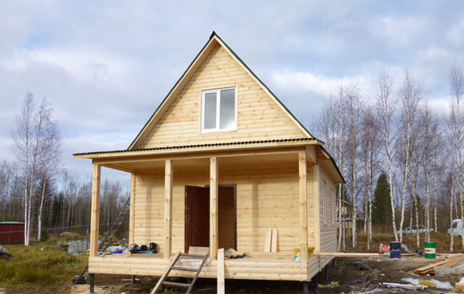 каркасный дом 6 на 6 метров с террасой
