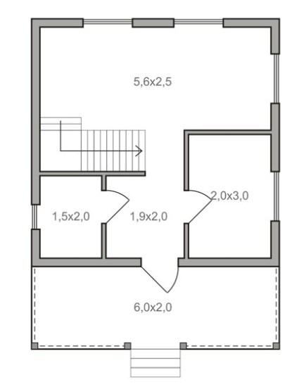 планировка каркасного дома 6 на 6 метров