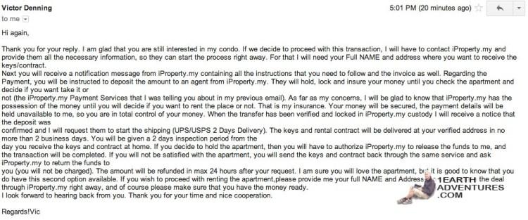 Victor wants my money! Mudah Marine Court Apartment Scam