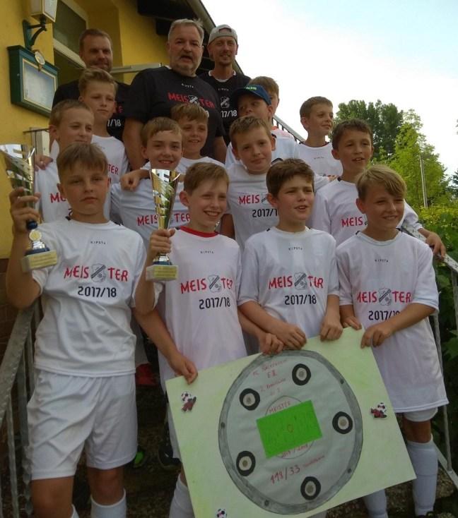 Die E1-Junioren feiern die Meisterschaft. Foto: Martin Imruck
