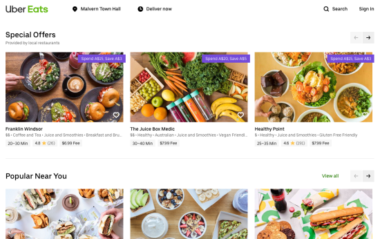 Screenshot from UberEats.com recommendations page