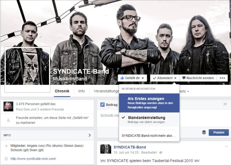 Facebook Band Fanpages
