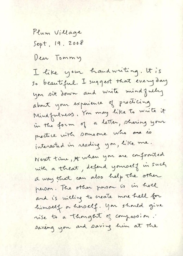 Letter to Tommy in Prison  Plum Village