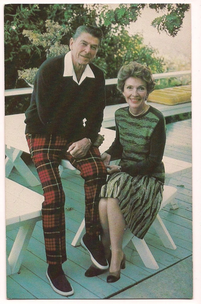The Reagans posed again on their back deck.