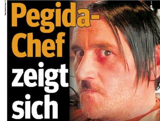 Pegida leader Bachmann posing as Hitler copycat