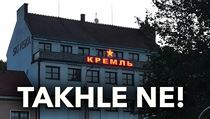 A red star and a Cyrillic alphabet appeared on a private building in Uherské Hradiště ...