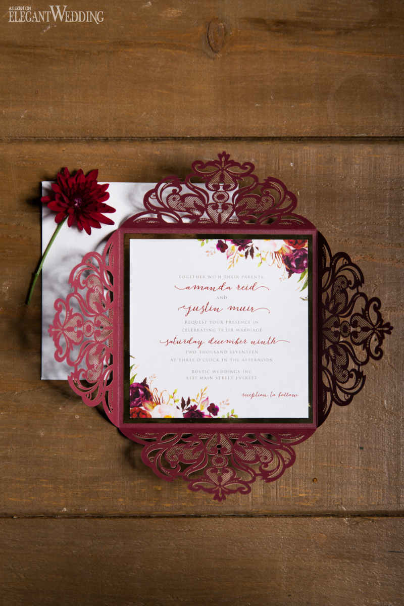 Rustic Red Wedding Invitations