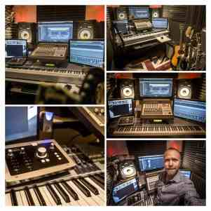 Joe Wakeford in his studio - with Audient iD22