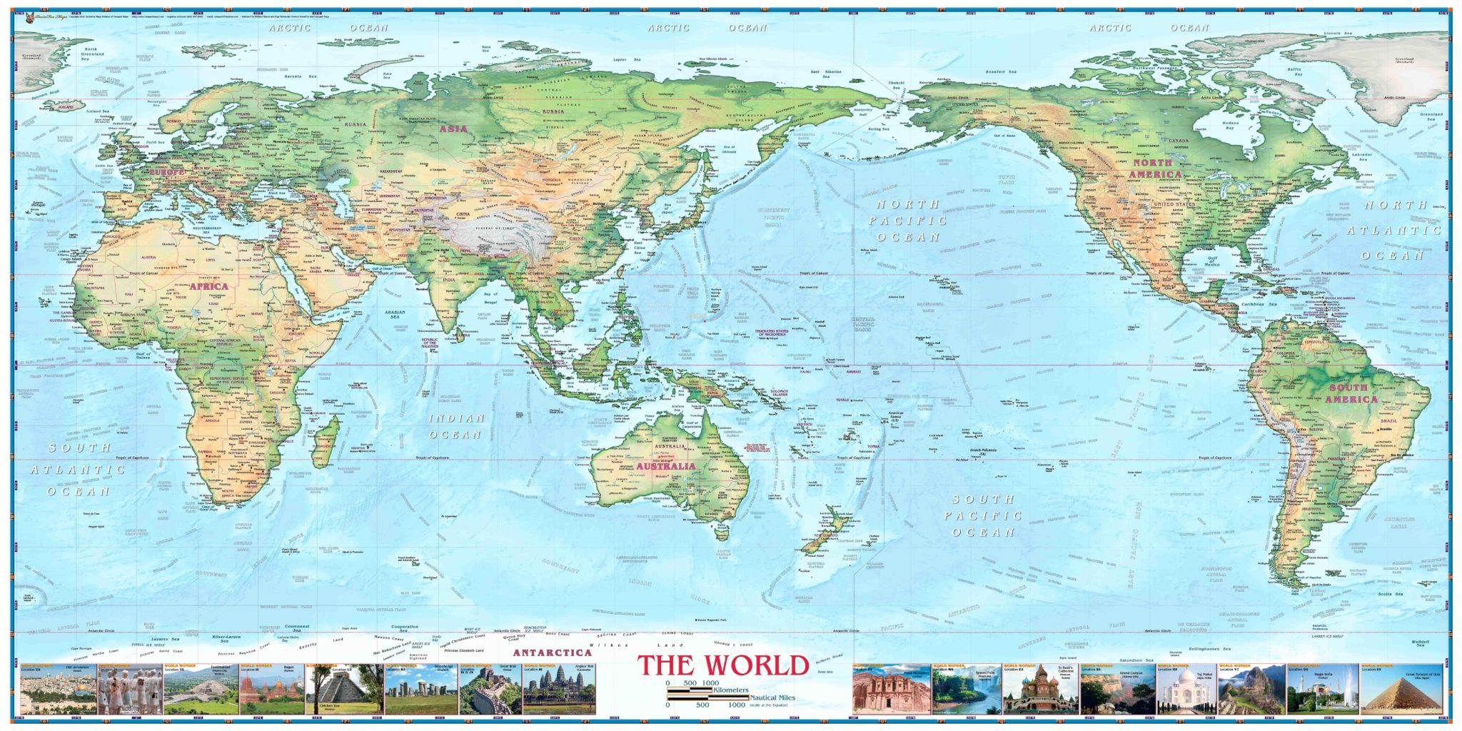 World Physical Map With Wonders Pacific Centered Light Oceans The Map Shop