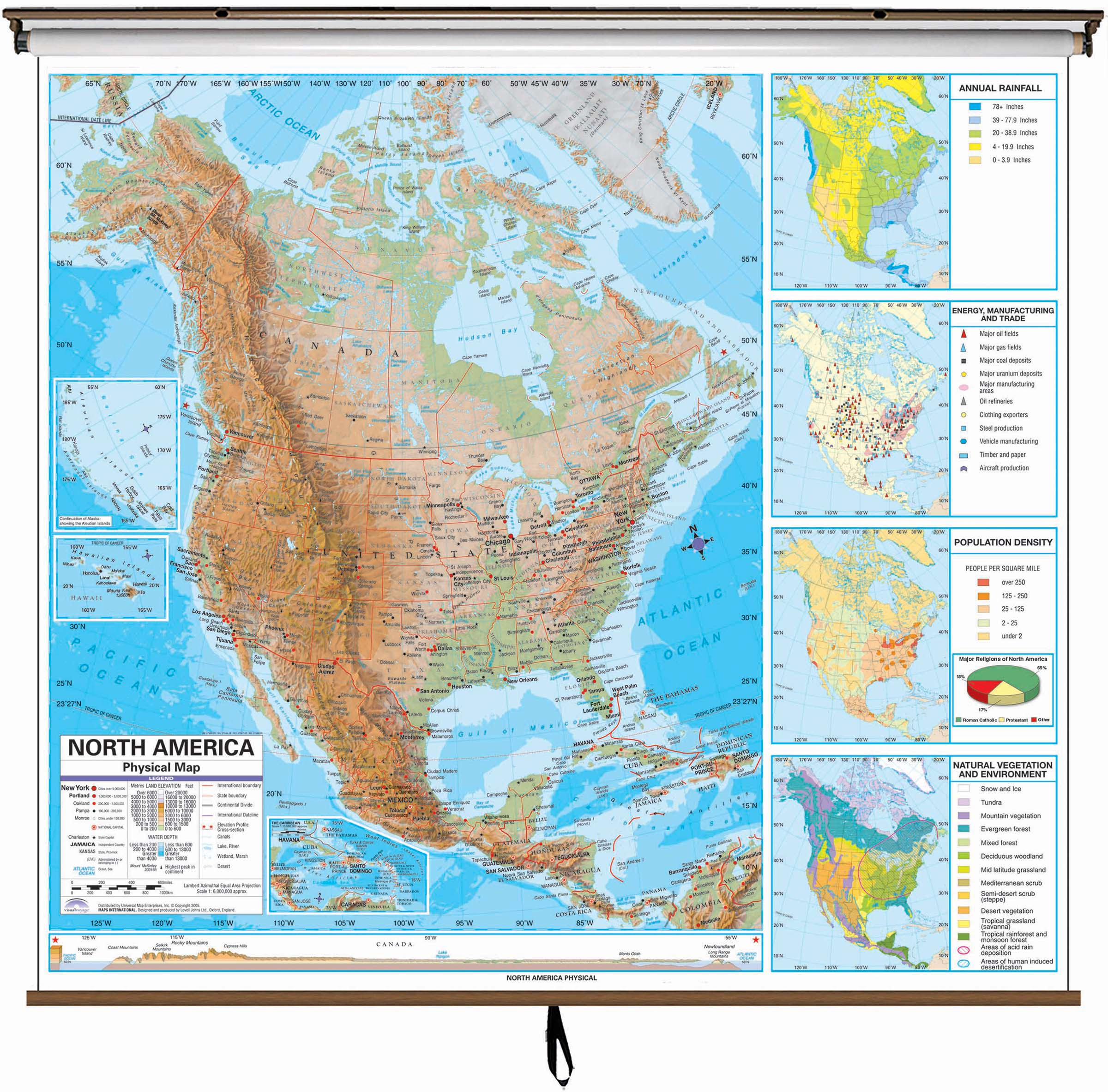 North America Advanced Physical Classroom Wall Map On