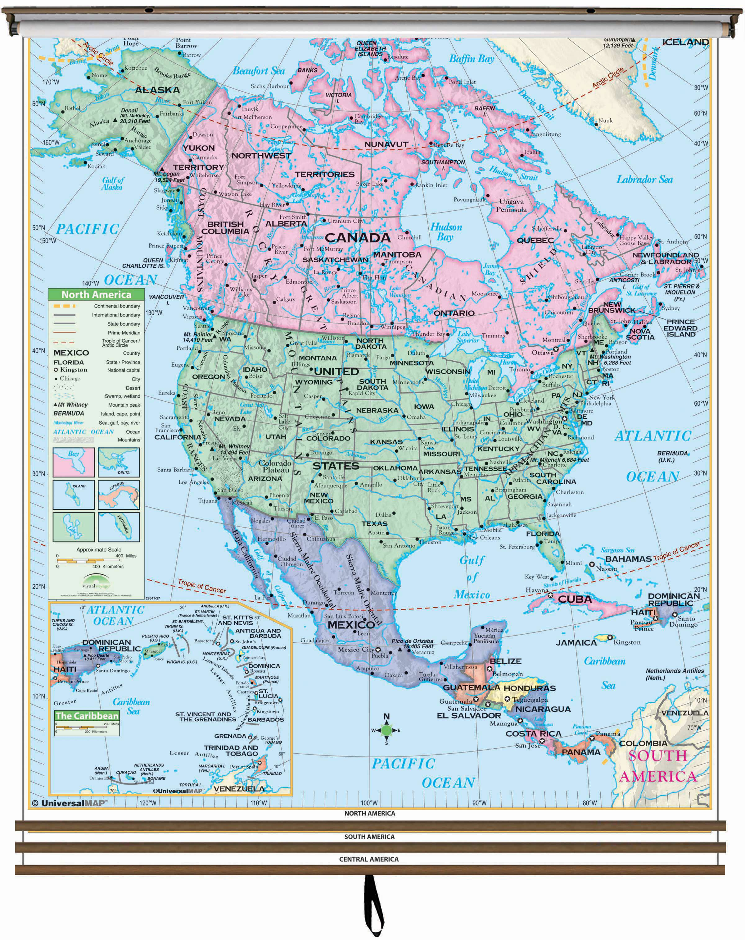 Western Hemisphere Essential Wall Map Set On Roller W