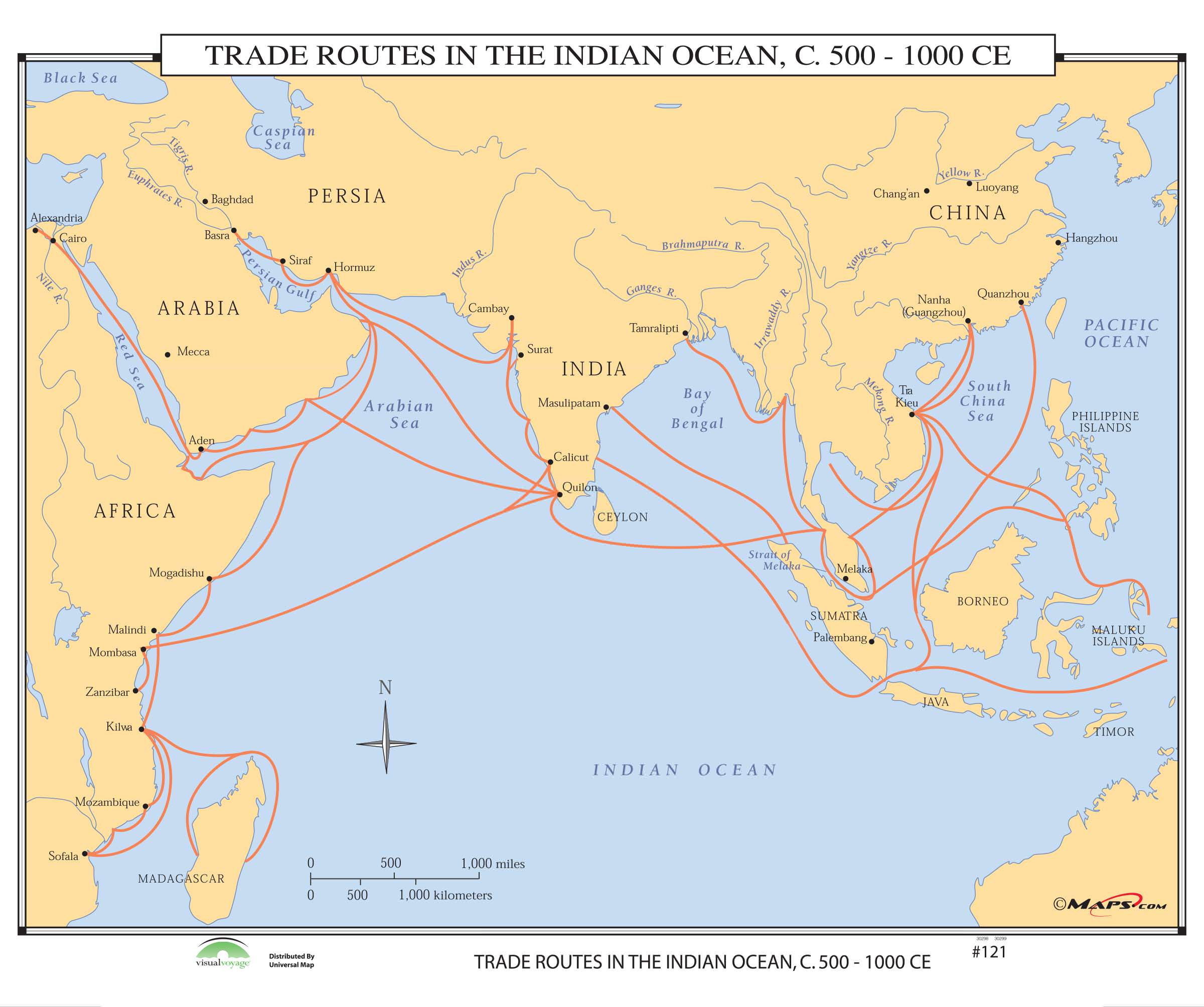 121 Trade Routes In The Indian Ocean 500 Ce On