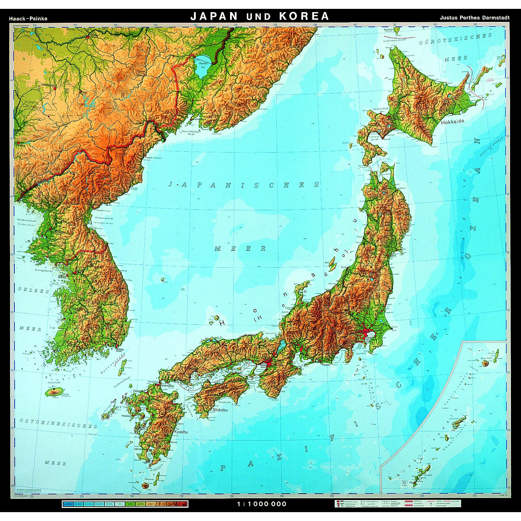 Japan And Korea Physical Map 83 X 77