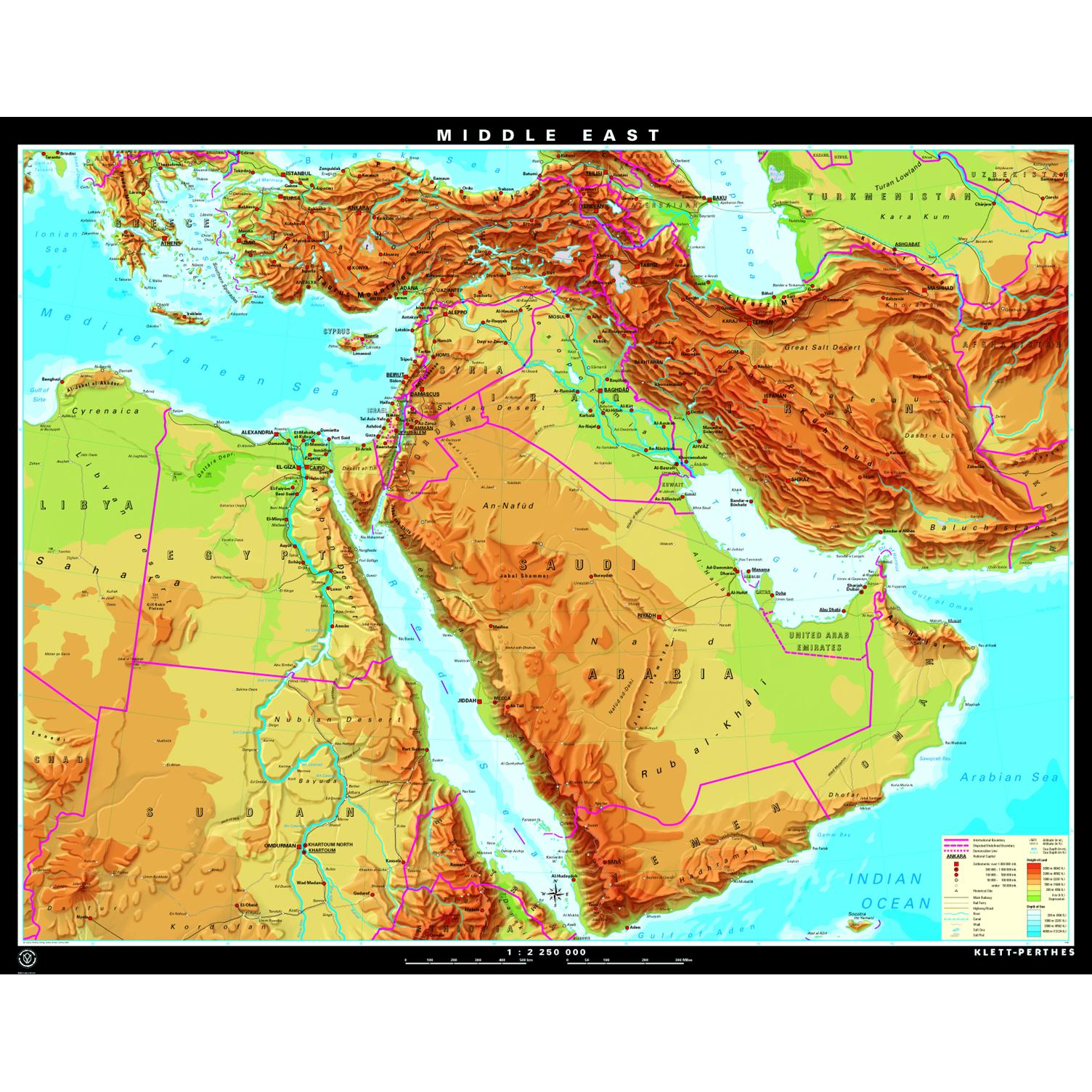 Middle East Physical Maps