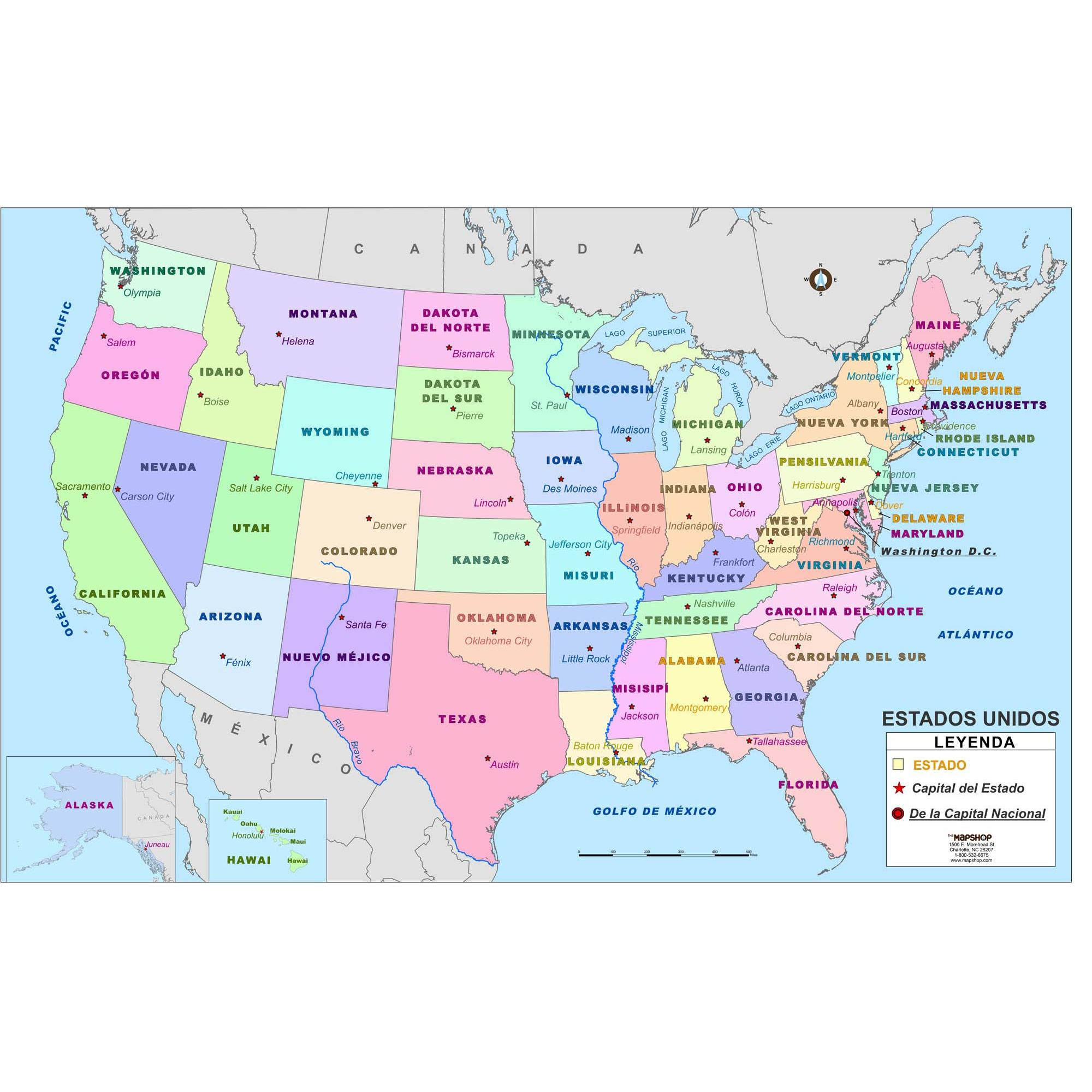 United States Wall Map In Spanish