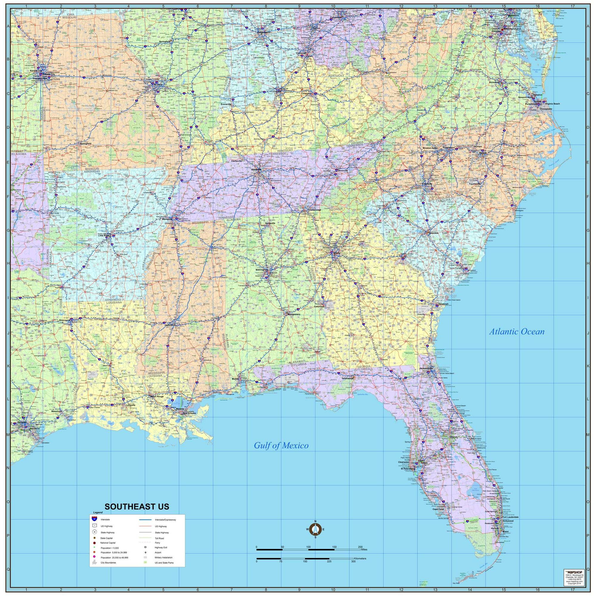 Southeast United States Wall Map