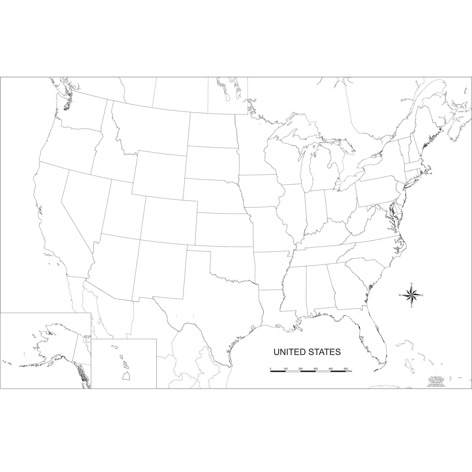 Blank United States Outline Wall Map