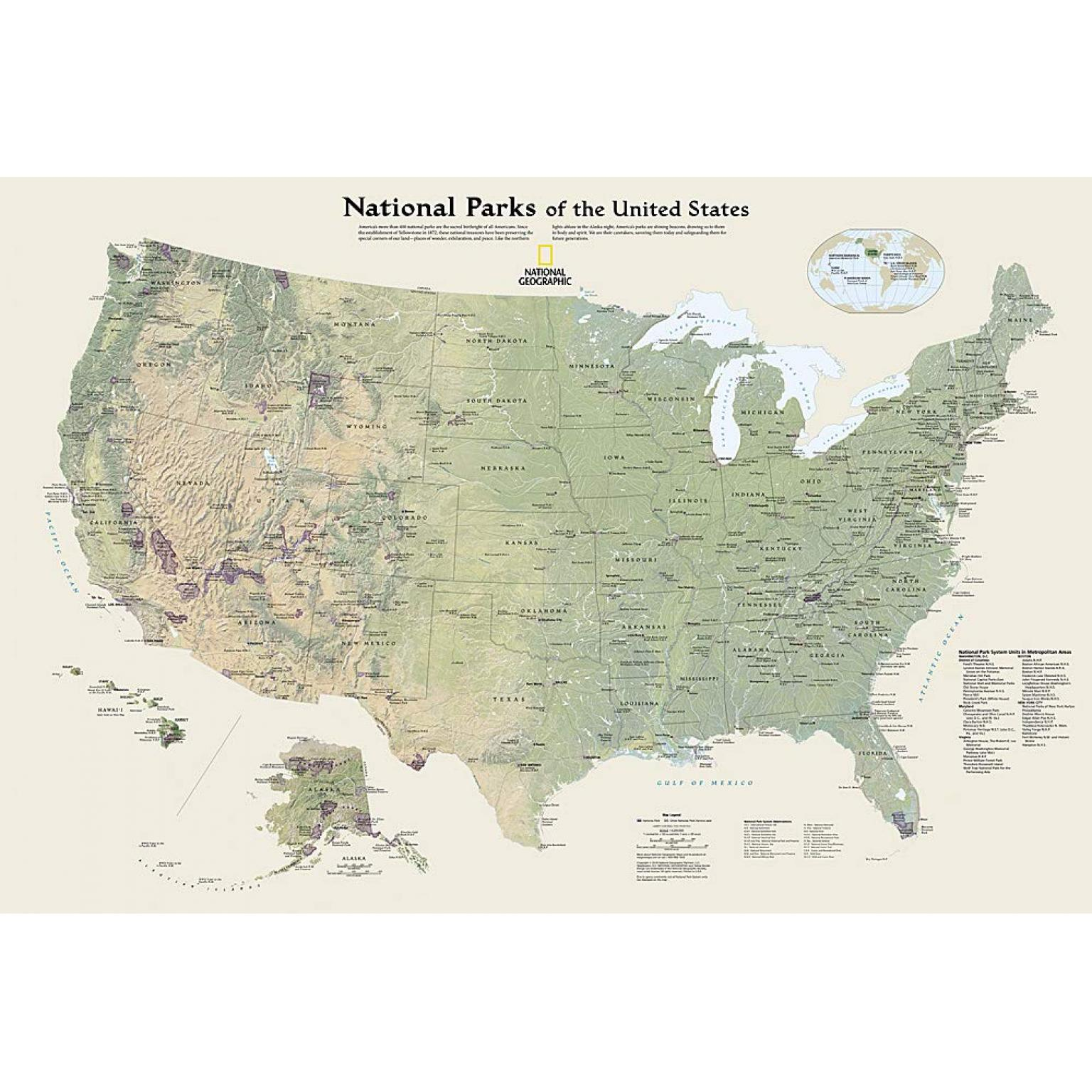 The park covers 76,518 acres, with more than 2,000 sandstone arches. National Geographic National Parks Of The U S Folding Travel Map The Map Shop
