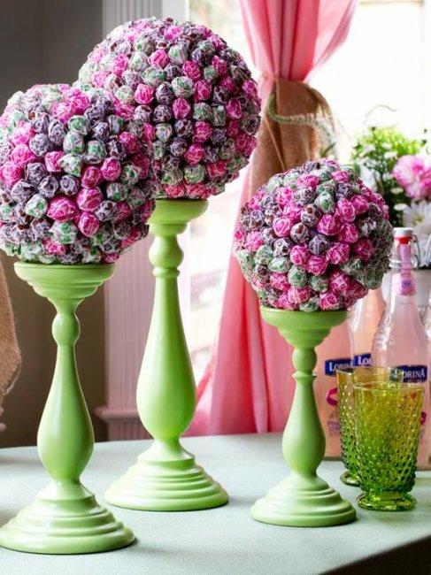 sladkiy_topiariy_11_06173109 Топиарий из конфет. Сладкий топиарий: дерево, яблоко, букет и часы из конфет