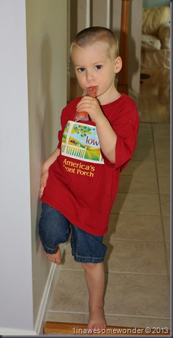 3 years old and looking good wearing his favorite t-shirt. Theodore enjoys a freeze pop while showing daddy his new haircut.