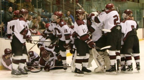 The Grizzlies gone wild! Celebrating an overtime win versus Windham. (c) 1inawesomewonder. (Photo by Charron)