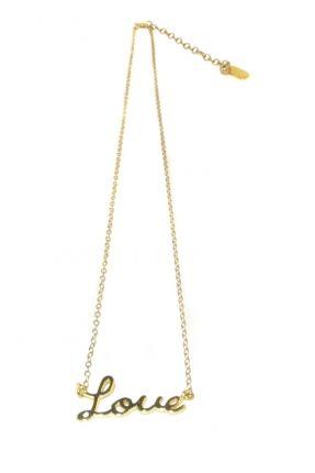 Collier LOVE, laiton doré, Lili Palouli, 32€