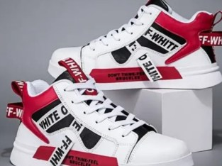 Red and white male sneakers