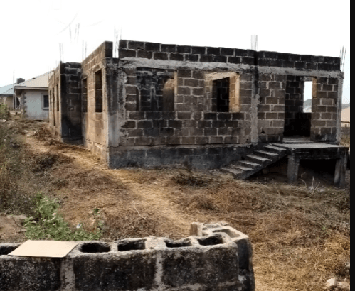 2 Bedroom at Roofed Level With Foundation on 2 Plot of Land for sale